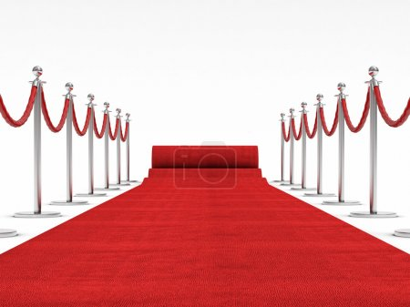 Photo for 3d image of red carpet on white - Royalty Free Image