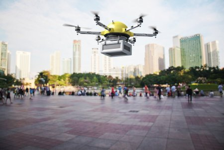 Photo for 3d image of futuristic delivery drone - Royalty Free Image