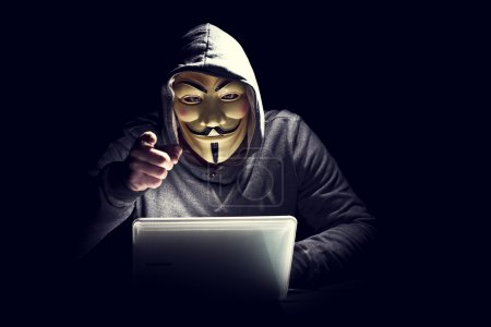 Portrait of hacker with mask...