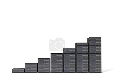 Photo pour Escalier de serveur 3d sur fond blanc - image libre de droit