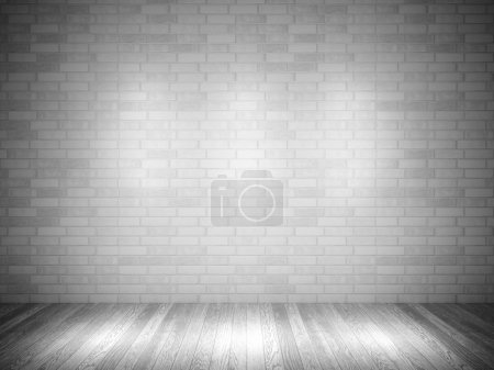 Photo for 3d brick wall and wood floor - Royalty Free Image