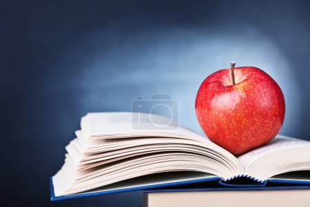 Photo for School concept apple book and blackboard - Royalty Free Image