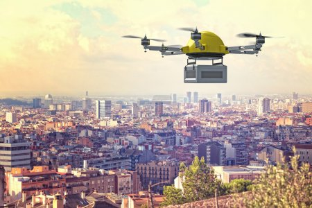 Photo for Delivery 3d drone and town background - Royalty Free Image