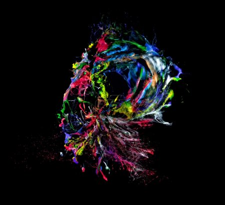 Photo for Explosion of colorful paint on black background - Royalty Free Image