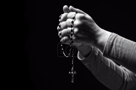 Photo for Closeup image of hands and rosary - Royalty Free Image