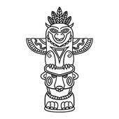 Doodle Traditional Tribal Totem Pole isolated on white background coloring book