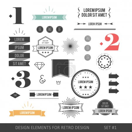 Illustration for Hipster style infographics elements set for retro design. With ribbons, labels, rays, numbers, arrows, borders, diamonds and anchors. Vector illustration - Royalty Free Image