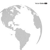 Vector abstract dotted globe Central heating views over North a