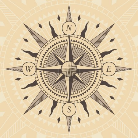 Illustration for Vector oldstyle wind rose compass - Royalty Free Image