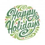 Постер, плакат: Holidays greeting card with abstract doodle Christmas ball Happy Holidays