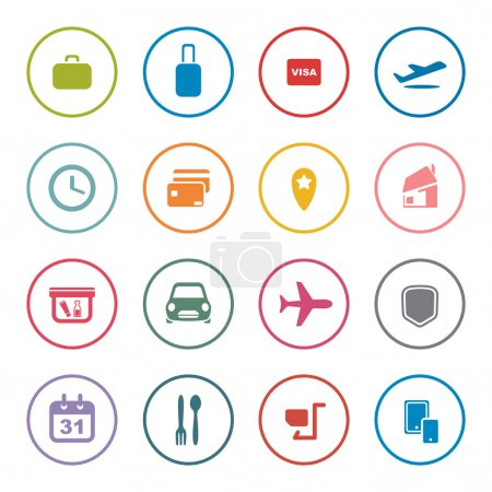 Illustration for Airlines online services icon set,colorful vector illustration - Royalty Free Image