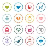 Love theme icon setcolorful vector illustration