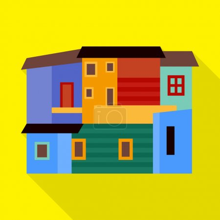 Illustration for La Boca, Buenos Aires vector flat icon - Royalty Free Image
