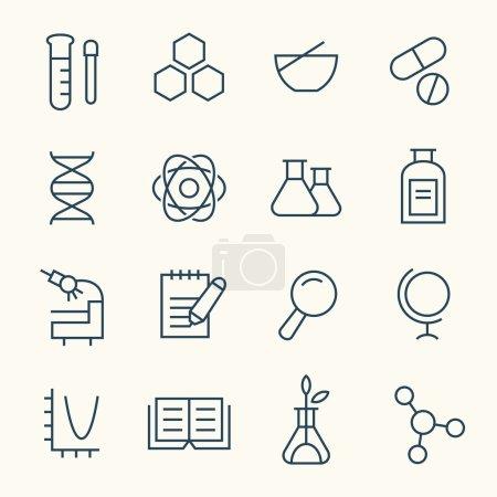 Illustration pour Ensemble d'icônes de thème scientifique - image libre de droit