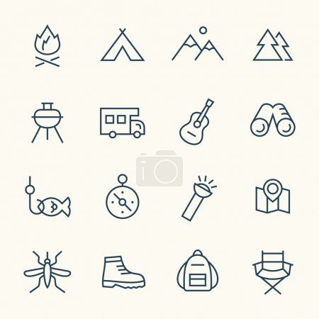 Illustration for Camping line icons,vector - Royalty Free Image
