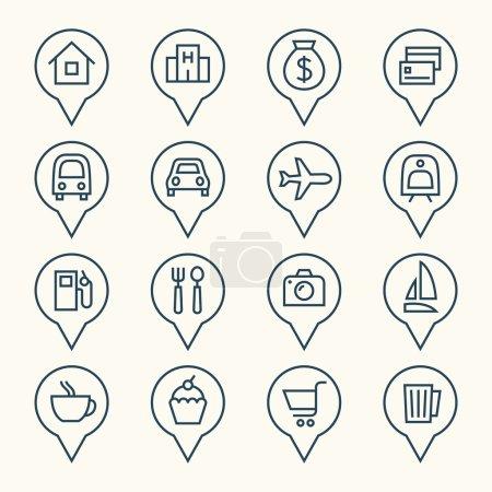 Illustration pour Pointeurs de carte icônes ensemble, vecteur - image libre de droit