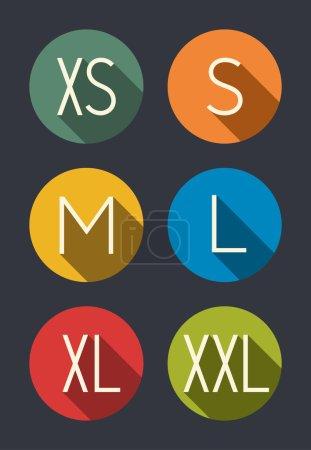 Illustration pour Vêtements tailles icônes ensemble - image libre de droit