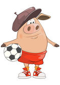 Illustration of a Cute Pig Footballer