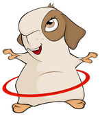 Funny brown guinea pig and a hula hoop cartoon Isolated on white background Vector