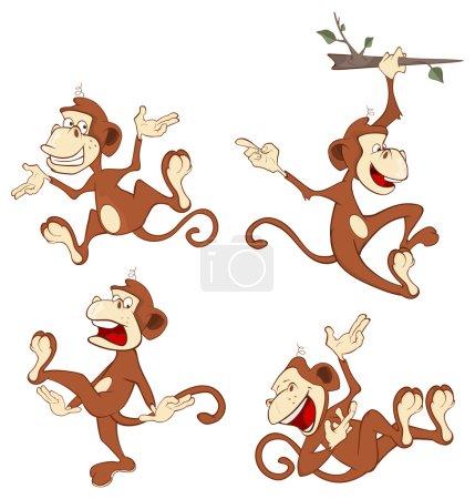 Set of cheerful monkeys