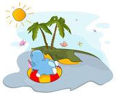 A floating hippo near an island