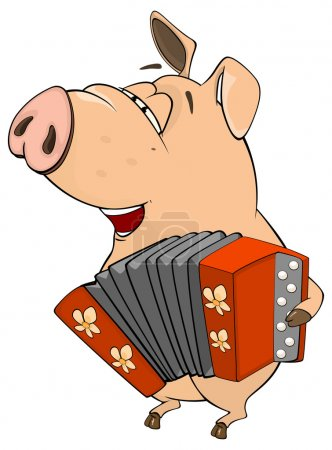 Illustration of a pig-musician cartoon
