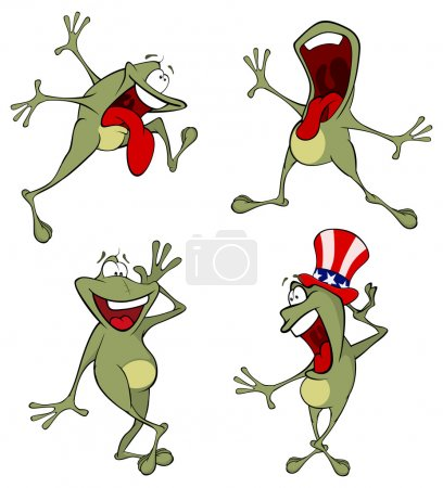 Illustration for Vector illustration of a set of cute cartoon green frogs - Royalty Free Image