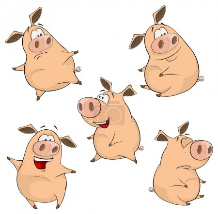 Illustration for Set of cheerful pigs Cartoon. Vector Illustration - Royalty Free Image
