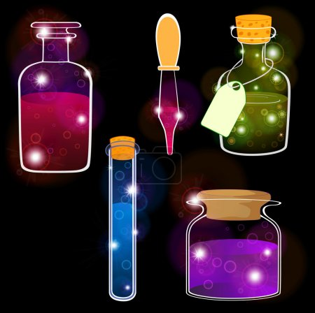 Illustration for Set of laboratory flasks on a black background. Cartoon - Royalty Free Image