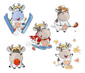 set of cartoon funny little cows