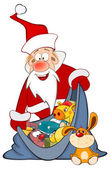 Cute Santa Claus with sack full of gifts Cartoon Character