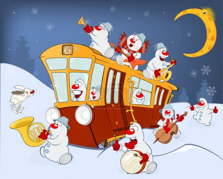 Illustration for Vector Illustration of a Christmas Snowmen Music Band and a Red Tram - Royalty Free Image