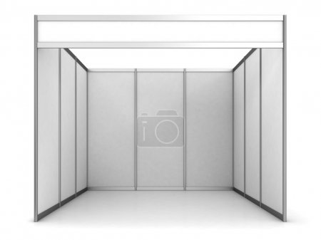 Photo for Empty exhibition stand with white walls - Royalty Free Image
