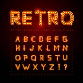 Retro alphabet set with lamp and stars vector illustration
