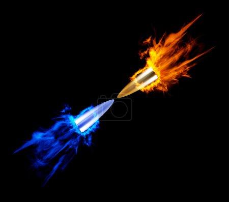 Illustration pour Une balle brûlante volante. Illustration sur fond noir - image libre de droit