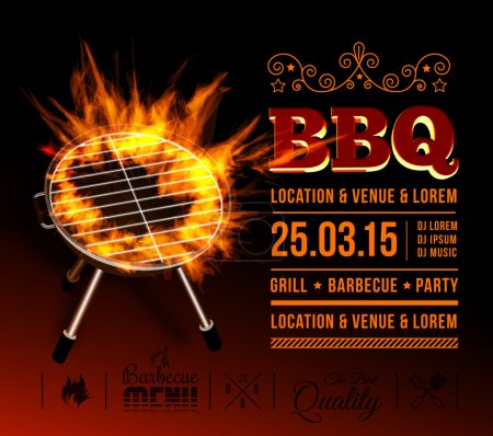 Illustration for Barbecue grill party. vector illustration with fire on dark background - Royalty Free Image