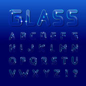 Vector glass font on a blue background Can be used for window dressing goods made of glass posters booklets print production and Web design