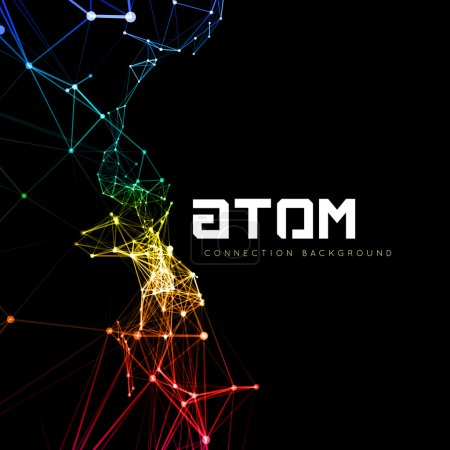 Illustration for Abstract polygonal space low poly dark background with connecting dots and lines. Connection structure. Vector science background. Polygonal vector background. Futuristic HUD background. - Royalty Free Image