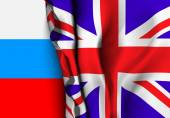 Flag of United Kingdom over the Russia flag Vector illustration that can be used as a concept of trade and political relations between the two countries
