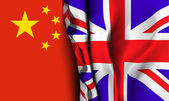 Flag of United Kingdom over the China flag