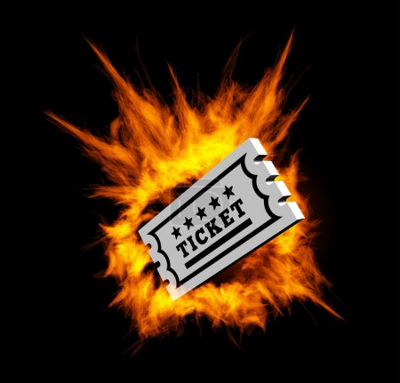 Burning ticket. Vector illustration with fire on a...
