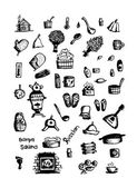 Russian sauna set of icons sketch for your design