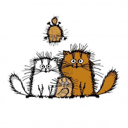 Illustration for Fluffy cats family, sketch for your design. Vector illustration - Royalty Free Image