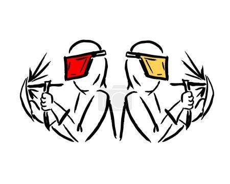 Illustration pour Soudeurs, esquisse pour votre design. Illustration vectorielle - image libre de droit