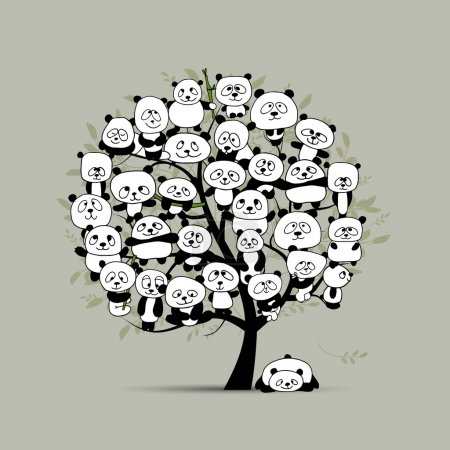 Illustration for Tree with funny pandas, sketch for your design. Vector illustration - Royalty Free Image