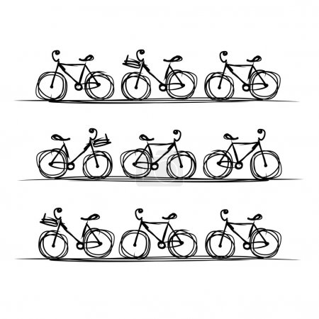 Illustration for Bicycle collection, sketch for your design. Vector illustration - Royalty Free Image