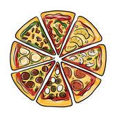 """Постер, картина, фотообои """"кусочки пиццы, эскиз для вашего дизайна"""""""