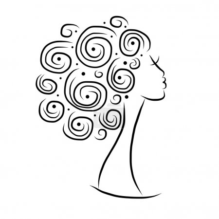Female head silhouette for your design, vector ill...