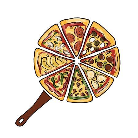 Illustration pour Casserole avec des morceaux de pizza, croquis pour votre design. Illustration vectorielle - image libre de droit