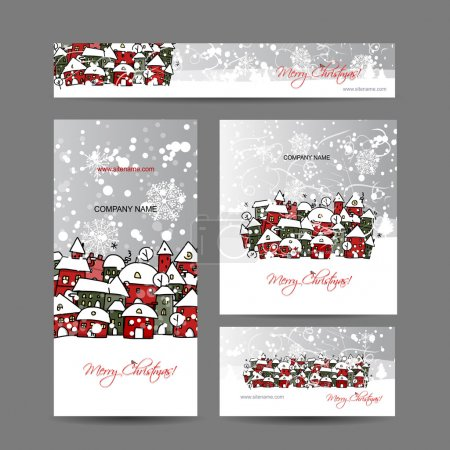 Illustration for Christmas cards with winter city sketch for your design. Vector illustration - Royalty Free Image